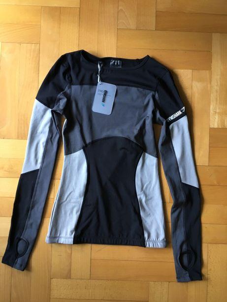 GYMSHARK Illusion - bluzka z długim rękawem rozm. XS Black/Charcoal