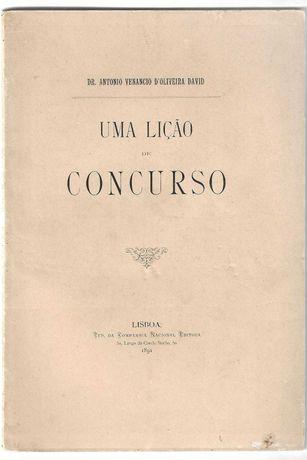 Livro-Uma lição de concurso-Dr.António Venancio D'Oliveira David-1891