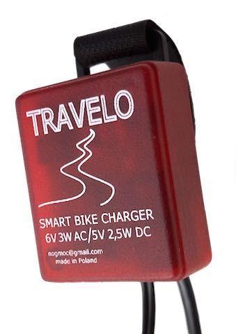 Travelo - rowerowa ładowarka smartfona zasilana prądnicą Shimano