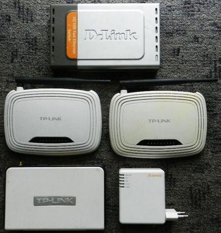 Router TP-LINK TL-WR740N, Sapido MiniServer GR-1100, D-link DES-1008D
