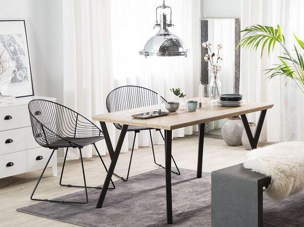 Mesa de jantar castanha clara com preto 140 x 80 cm BRAVO - Beliani