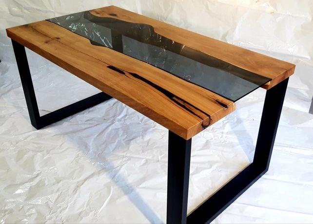 Stół dąb szkło metal