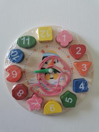 Relógio educativo de madeira para criança