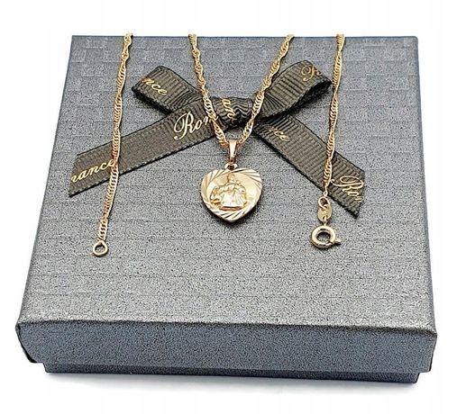 Łańcuszek medalik szkaplerz stal chirurgiczna  złoty