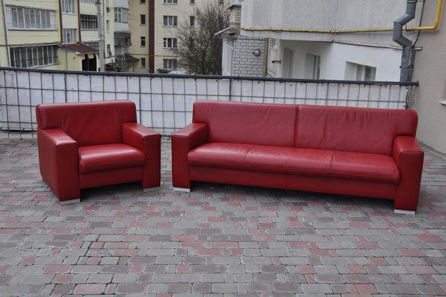 Кожаный диван, кресло, гарнитур! Современный стиль! Идеал.