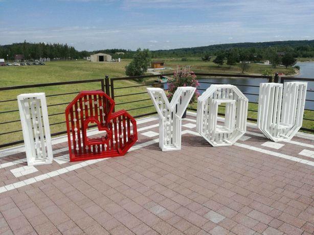 Drewniany podświetlany napis I LOVE YOU < 3 LOVE Slub Wesele