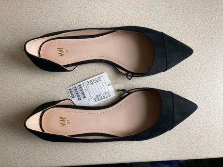 Baleriny czarne zamszowe H&M rozmiar 37