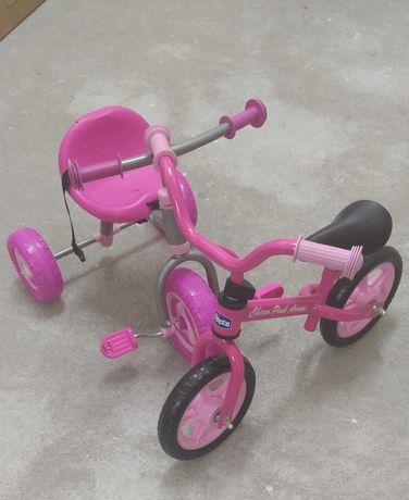 Bicicleta Chicco A Primeira Pink + Triciclo