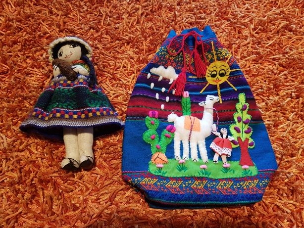 OFERTA PORTES - Artesanato do Perú Boneca com Bebé e Saco com Lama