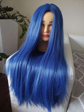 Peruka włosy niebieskie fale loki długie  cosplay kręcone