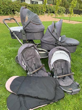 Wózek bliźniaczy rok po roku z gondolami ABC design