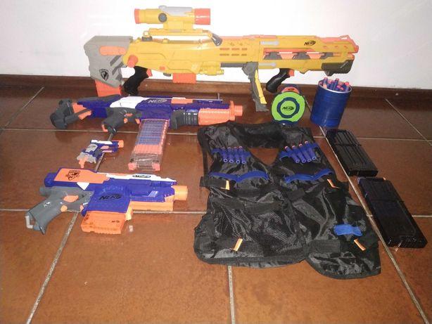 Conjunto Nerf Varias armas e assessórios