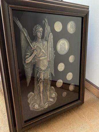 Коллаж с монетами Святой архангел Михаил