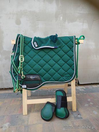 Komplet dla konia butelkowa zielen czaprak nauszniki ochraniacze kanta