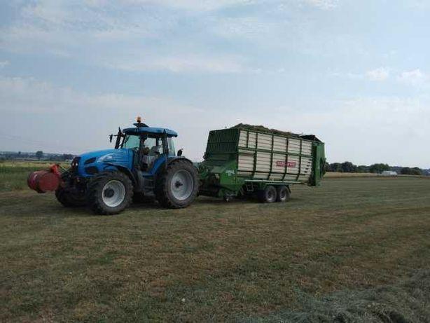 Usługi rolnicze: Zbiór traw przyczepą samozbierającą, siew kukurydzy