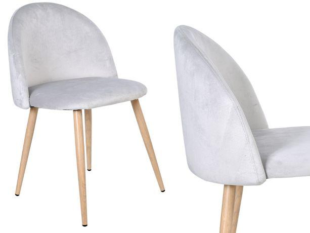 Krzesła tapicerowane JAZZ srebrnoszare aksamitne