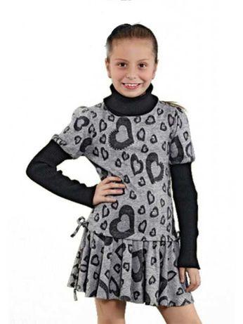 Платье для девочек с воротником под горло размер от 116 до 152