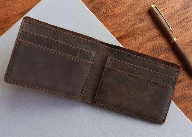 Мужской кошелек-портмоне из натуральной кожи. Кожа Crazy Horse