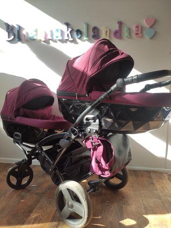 Ekskluzywny wózek bliźniaczy Junama Diamond DUO dla bliźniaków bliźnią