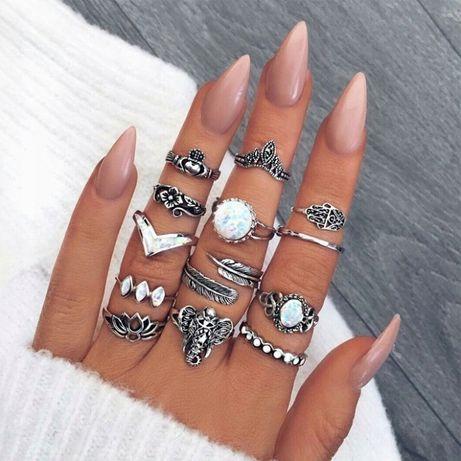 Zestaw 13 pierścionków boho vintage cyrkonie pierścionek kolor srebrny