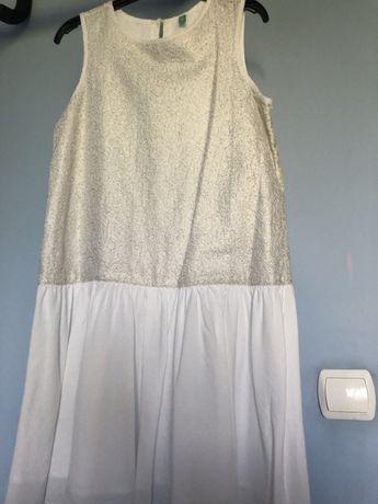 BENNETTON piękna złoto-biała sukienka r. 2 XL / 160cm