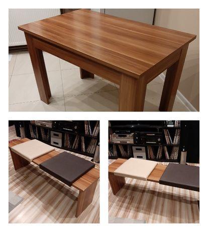 Stół i dwie ławy wyściełane