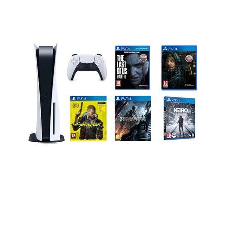 PlayStation 5 z grami oraz padem