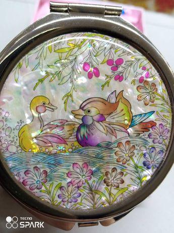 Зеркало для косметички зеркальце карманное дзеркало перламутр Корея