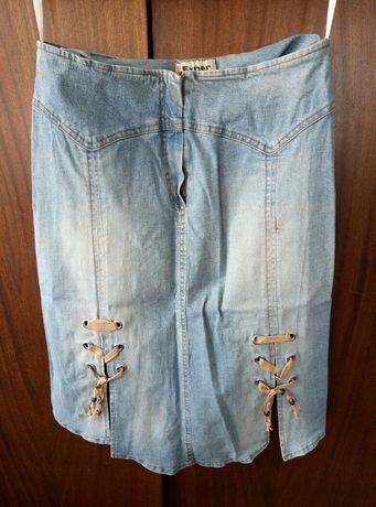 Юбка джинсовая, миди.