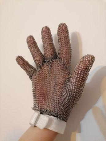 Rękawica metalowa, nierdzewna do pracy w rzeźni lub w sklepie, krótka