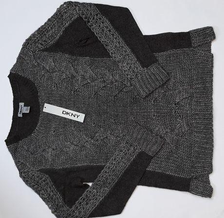 DKNY Donna Karan Welniany Sweterek Dziergany Azurowy Grafiowy Szary S