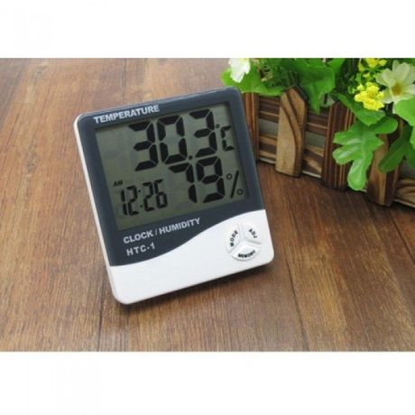 Термометр многофункциональный HTC-1, гигрометр, часы, будильник