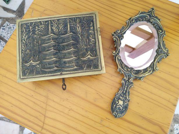 Guarda Jóias +Espelho em Bronze