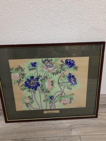 Malowany,sygnowany obraz kwiaty w drewnianej ramie 54 na 43,5 cm