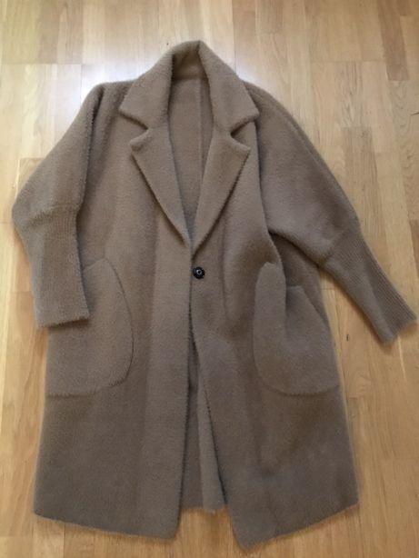 Nowy płaszcz z alpaki wełna pluszowy ciepły karmelowy rozm M