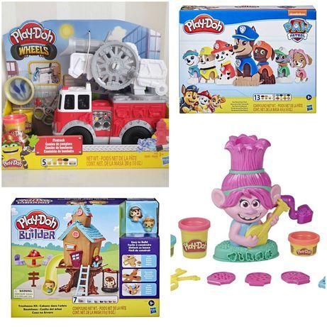 Play doh щенячий патруль, пожарный автомобиль, домик на дереве, trolls