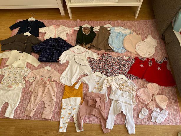 Lote 30 peças de roupa 1-3 meses-menina