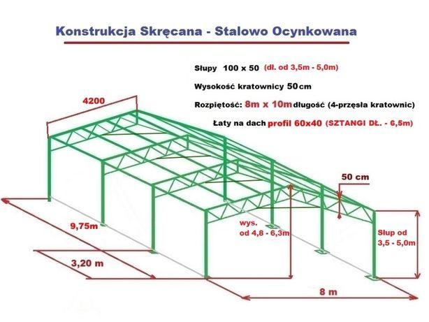 Wiata Garaż 8x10m Hala Magazyn Konstrukcja OCYNKOWA stalowa skręcana