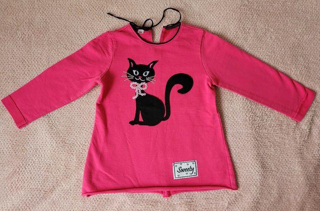 Różowa bluza z kotkiem r. 104
