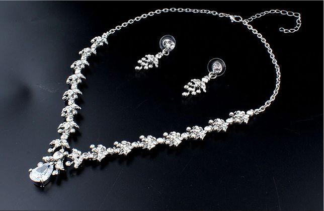 Komplet biżuterii naszyjnik + kolczyki kamienie ślub wesele