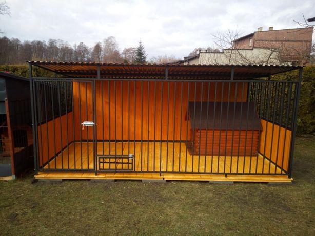 Kojec dla psa,boks dla psów 4x2,zabudowany boazeria drewniana