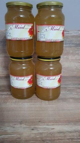 Prawdziwy miód wielokwiat wiejskiej pasieki od pszczelarza duzy sloik