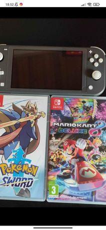 Nintendo switch lite cinza com película de vidro e com 2 jogos