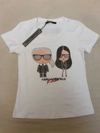 NOWA koszulka damska Karl Lagerfeld M L 40 XL ikonik piękny t-shirt