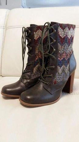 Стильные ботинки женские, кожа, 40 р., каблук, Zara, Geox, Gucci