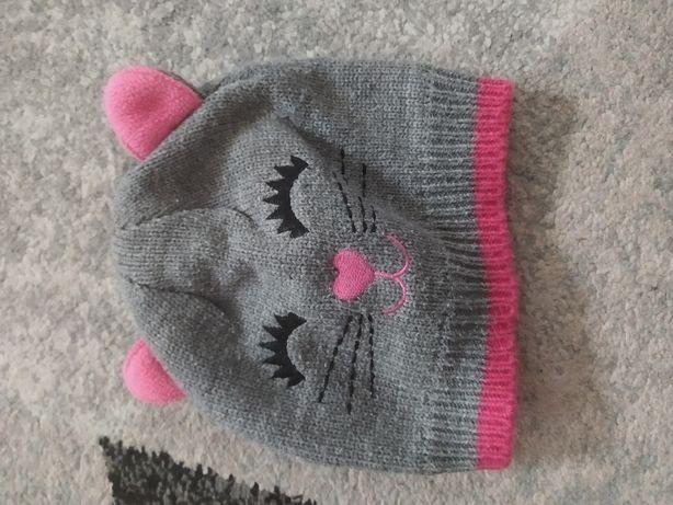 Czapka 68 dziewczynka kotek
