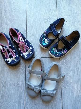 Komplet butów, baleriny, tenisówki,bambosze dla dziewczynki w rozm.25