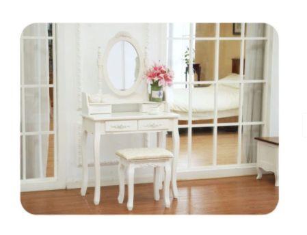 Biała Toaletka dla kobiet z lustrem taboret w zestawie dostawa GRATIS
