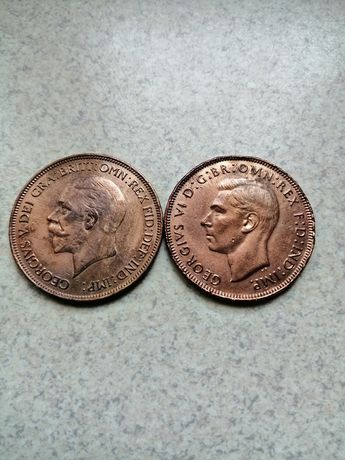 Anglia 2 monety 1 penny 1936 i 1946r.
