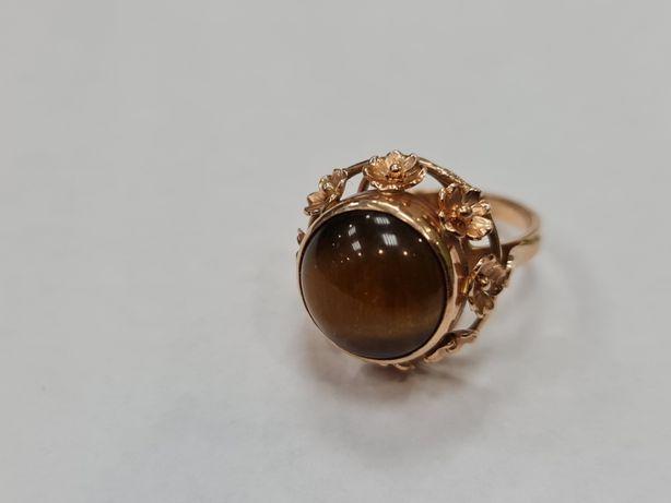 Tygrysie Oko! Retro! PRL! Piękny złoty pierścionek/ 585/ 7.42 gr/ R17